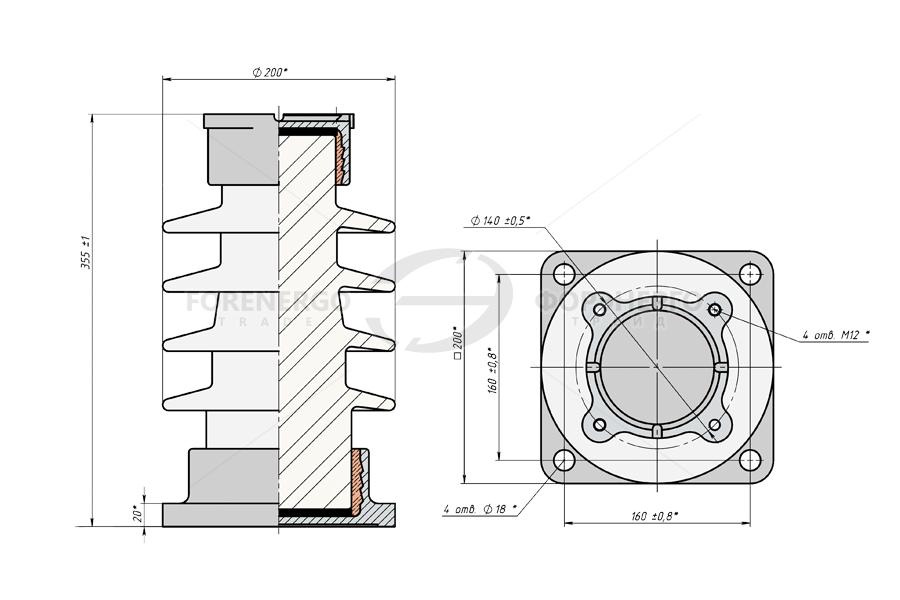 Изоляторы опорные стержневые фарфоровые типа  ИОС 20