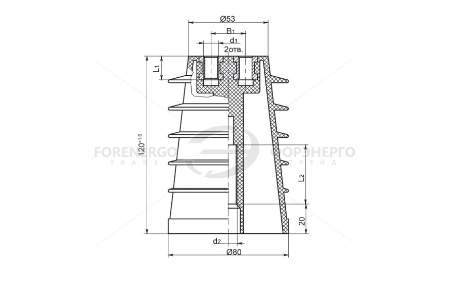 Изоляторы опорные ребристые полимерные типа ИОРП-10 на напряжение 10 кВ