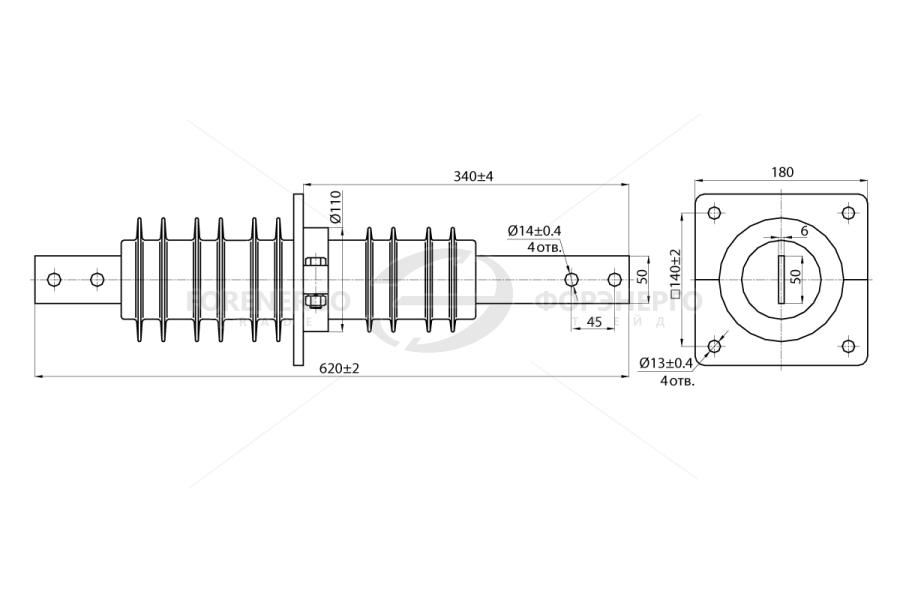 Изоляторы проходные полимерные типа ИПК-10 на напряжение 10 кВ