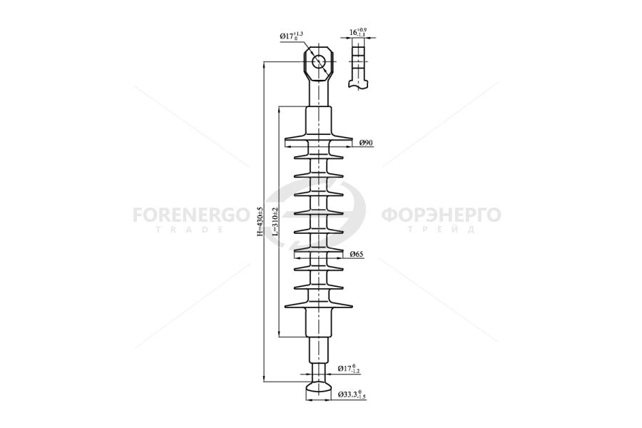Изоляторы линейные подвесные полимерные) типа ЛК 70/20-И, ЛК120/20-И  на напряжение 20 кВ