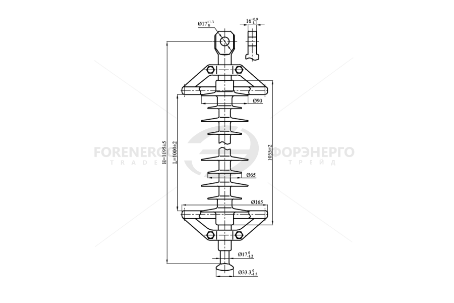 Изоляторы линейные подвесные полимерные типа ЛК 70/110-И, ЛК120/110-И  на напряжение 110 кВ