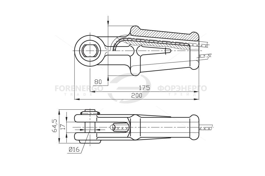 Зажим натяжной клиновой коушный НКК-1-1Б