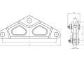 Коромысло двухцепное двухреберное 2КД-16-2А с одной точкой крепления