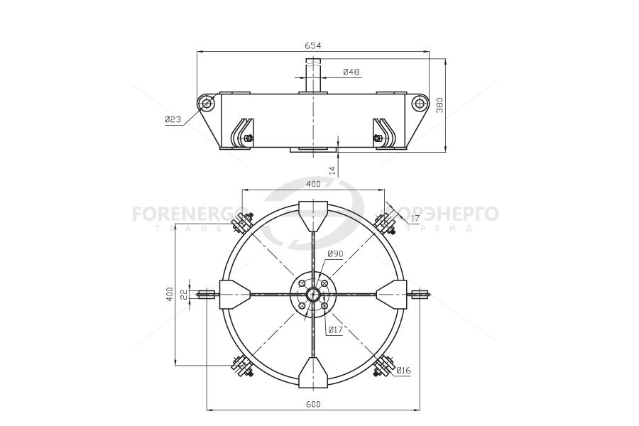 Коромысло четырехцепное двухреберное 4КД2-25-1 с двумя точками крепления