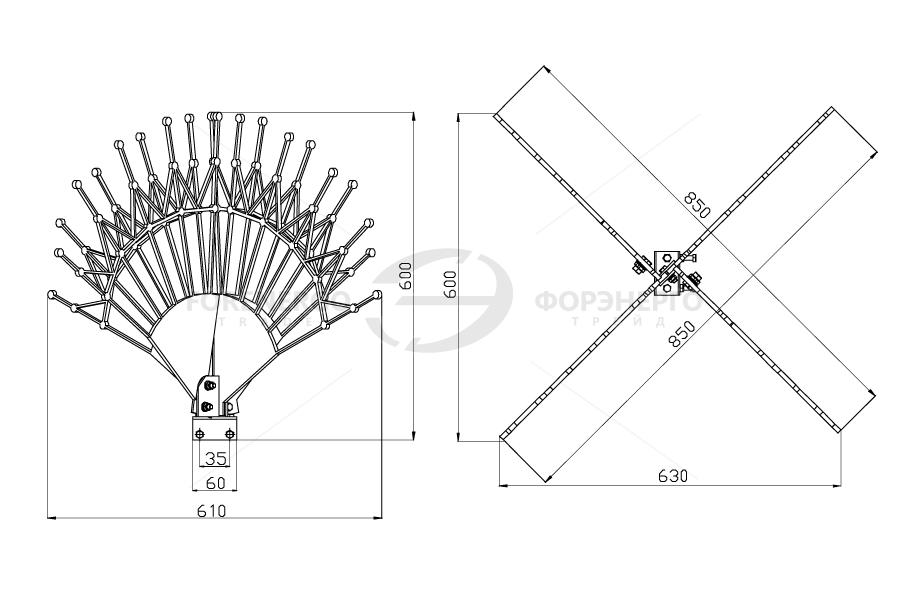 Устройство защиты птиц от поражения электрическим током на ВЛ антиприсадочного типа ЗП-АП