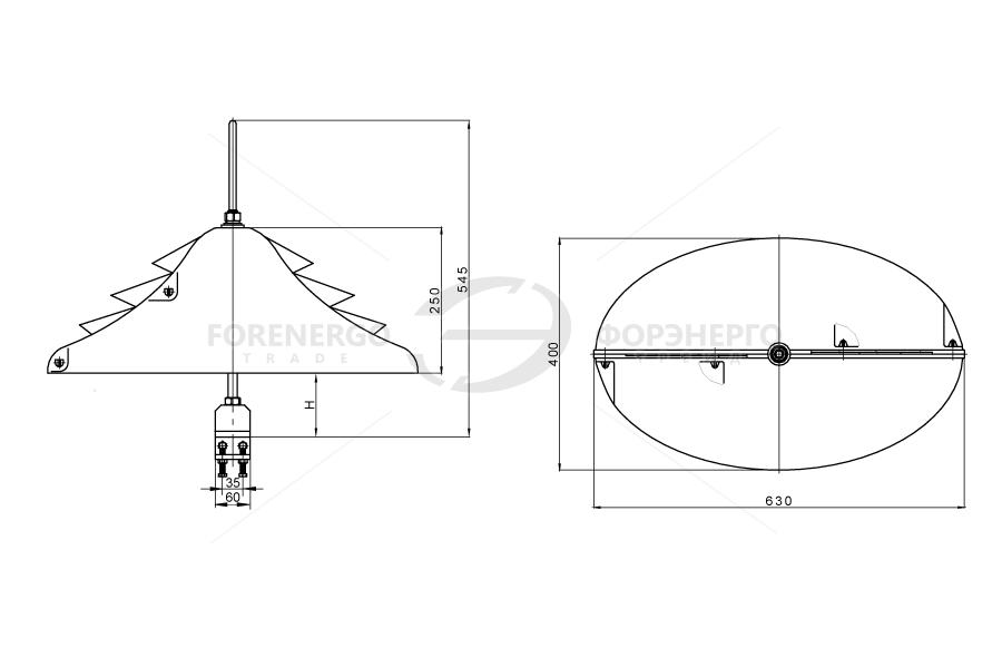 Устройства защиты птиц от поражения электрическим током на ВЛ антиприсадочного типа ЗП-АПК